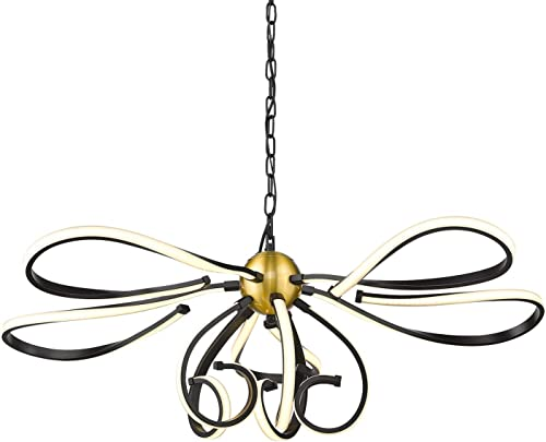 VICNIE Led Chandelier, Dimmable Modern Lighting Fixtures Hanging, 3000K Warm White Modern Chandelier with Eye Protectable Silicone Lampshade, Brushed Brass and Matt Black