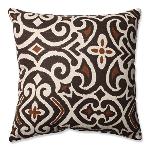 Pillow Perfect Decorative Damask Square Toss Pillow, Brown/Beige [並行輸入品] B07R82SZGR
