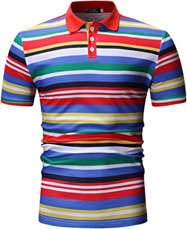 SWISSWELL Camisa Polo a Rayas Camiseta de Manga Corta Hombre Color sólido Borde Moda Deportiva Casual Simple: Amazon.es: Ropa y accesorios