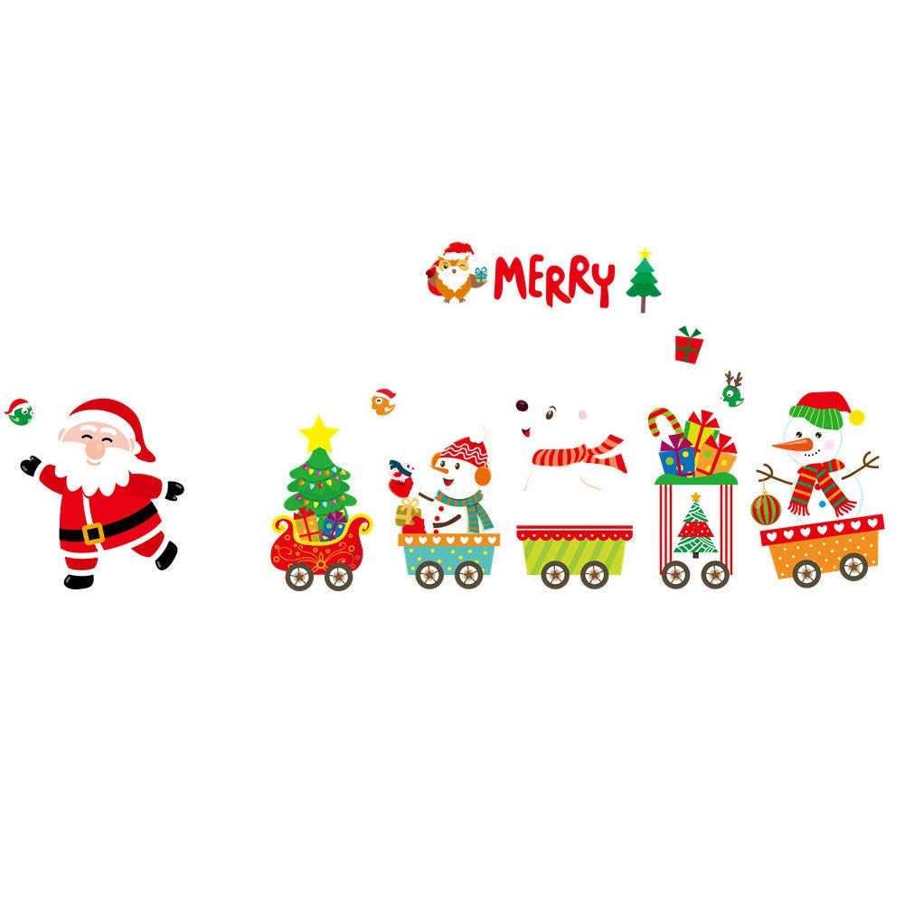 Fashionhe 2019 Merry Christmas Sticker Household Room Wall Sticker Mural Decor Removable Decal (Multicolor,N)
