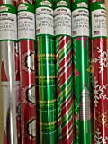 6 Rolls Red/Green Shiny Christmas Wrapping Paper