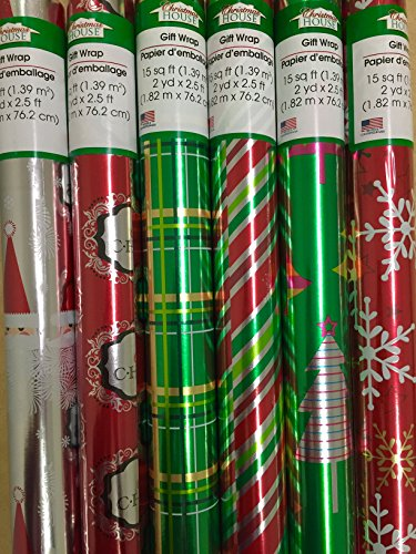 3 Rolls Red/Green Shiny Christmas Wrapping Paper