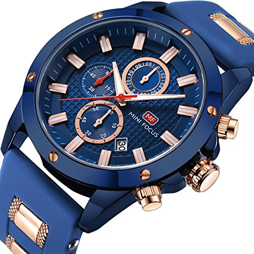 Men Business Watches Chronograph,MINI FOCUS Fashion Waterproof Quartz Wrist Watch for Family Gift