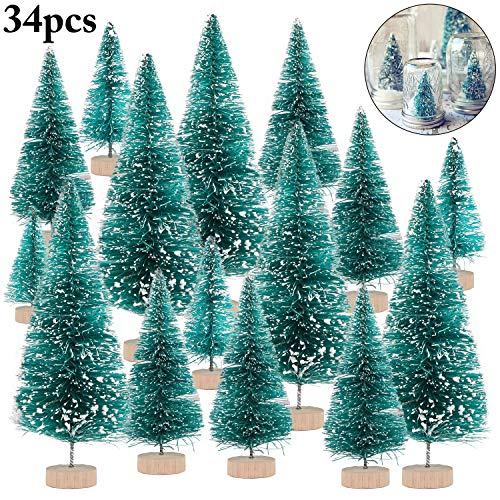 Mini Christmas Tree, Outgeek Artificial Sisal Tree Xmas Bottle Brush Trees Crafts Snow Tree for Table Home DIY Party Ornament Decoration Christmas Decor Pine Tree with Wood Base 34PCS