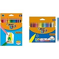 BIC Kids Tropicolors - Blíster de 18 unidades, lápices de surtidos + Plastidecor - Blíster de 18 unidades, ceras para…