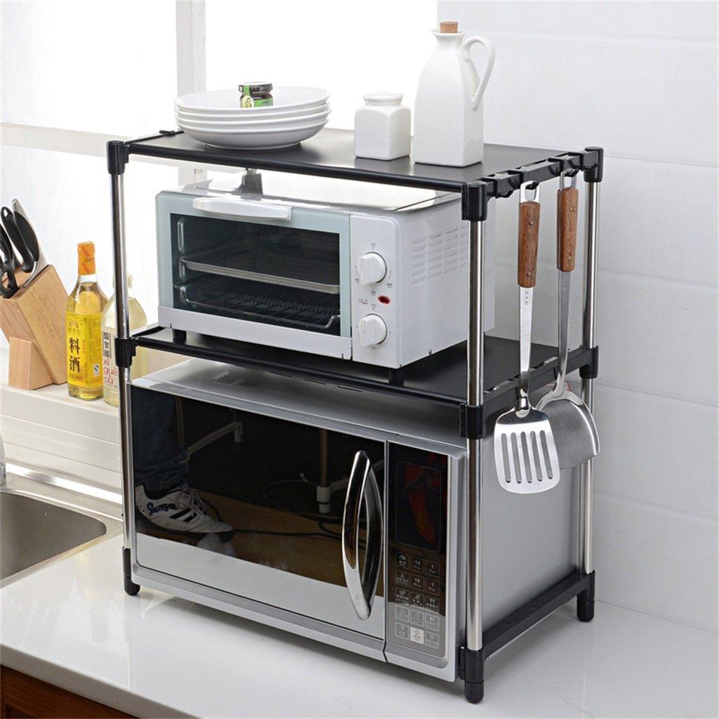 ZZBBZZ-YJ Storage-parete 2 strati in acciaio inox forno a microonde rack ripiani doppio ripiani per cucina scaffali classificati (Colore : Bianca)
