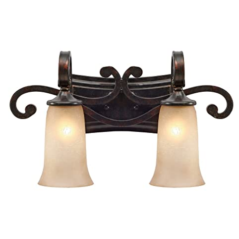Golden Lighting 3966-BA2 FB Portland Two Light Vanity Fixture, Fired Bronze  Finish