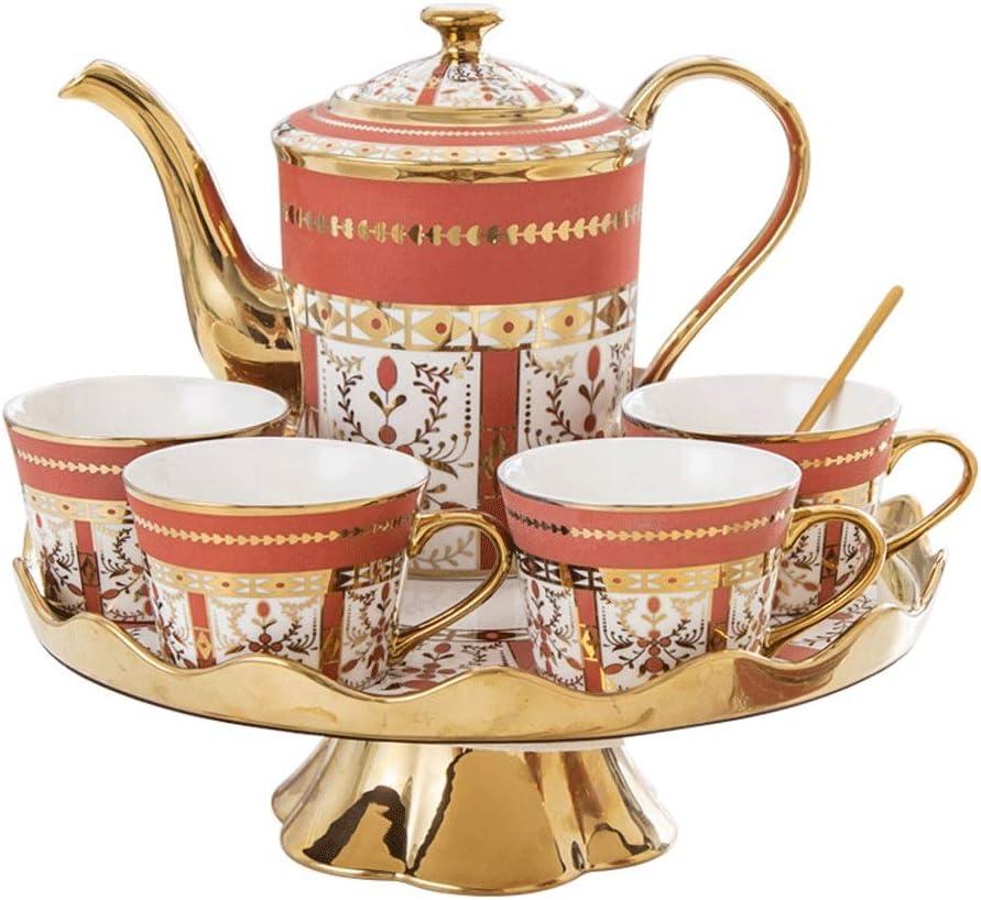 茶/コーヒーヨーロッパ式の回転式コーヒーカップのティーポットセットのための磁器のお茶セットシリーズティースプーン、皿の高品位の簡単な午後のティーセット (Color : Red)