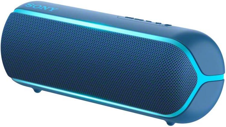 Sony Srs Xb22 Kabelloser Bluetooth Lautsprecher Tragbar Farbige Lichtleiste Extra Bass Bluetooth Nfc Wasserabweisend Kompatibel Mit Party Chain Freisprechfunktion Für Anrufe Blau Audio Hifi