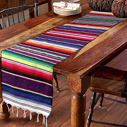 Hokic 14 x 84-inch Mexican Table Runner for Mexican Party Wedding Decorations, Fringe Cotton Mexican Serape Blanket Table Runner]()