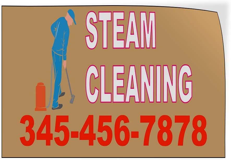 Custom Door Decals Vinyl Stickers Multiple Sizes Steam Cleaning Phone Number Business Steam Cleaning Outdoor Luggage /& Bumper Stickers for Cars Brown 54X36Inches Set of 5