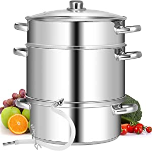 Giantex 10 Quart Juice Steamer Fruit Vegetables Juicer Steamers w/Tempered Glass Lid, Hose, Clamp, Loop Handles Stainless Steel Steam Juicer Multipots Kitchen Cookware for Making Juice, Jelly, Pasta