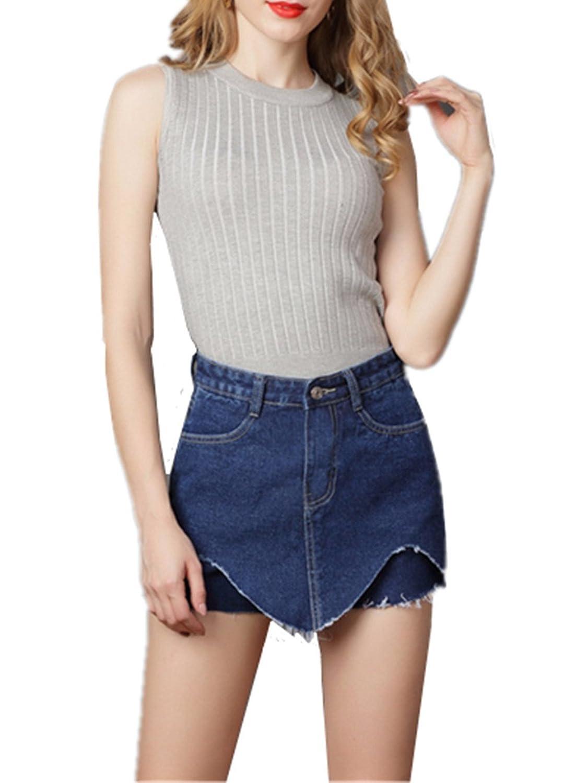 Damen Jeans Shorts High Waist Hot Pants Mit Spitze Hoher Bund Stretch Hose Kurz Damenmode