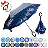 : ZOMAKE Double Layer Inverted Umbrella Cars Reverse Umbrella, UV Protection Windproof Large Straight Umbrella for Car Rain Outdoor With C-Shaped Handle(Cherry Blossom)