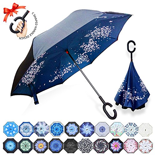 (ZOMAKE Double Layer Inverted Umbrella Cars Reverse Umbrella, UV Protection Windproof Large Straight Umbrella for Car Rain Outdoor With C-Shaped Handle(Cherry Blossom))