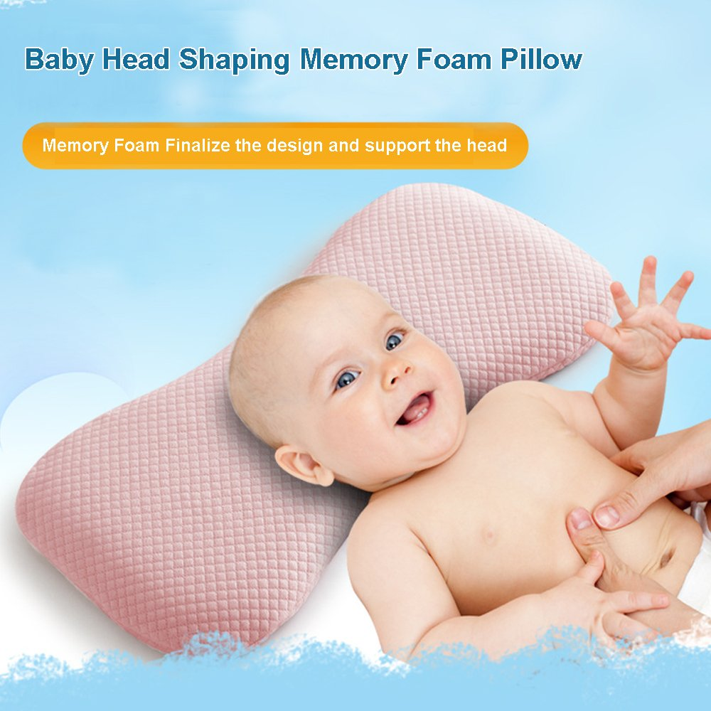 Pink Qutool 0-2 Years Old Baby Setting Head-shaping Memory Foam Pillow Baby Memory Foam Pillow Infant Wide Anti-roll Neck Pillow Prevent Flat Head,Bald /& Night Crying
