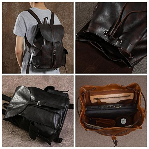 Handmade Genuine Leather Backpack Travel Backpack School Backpack in Black and Brown