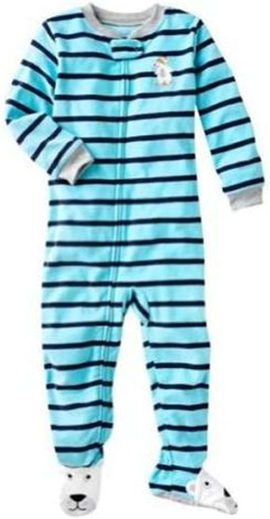 Carter's Boy's 4T Blue Striped Skiing Polar Bear Fleece Footed Pajama Sleeper