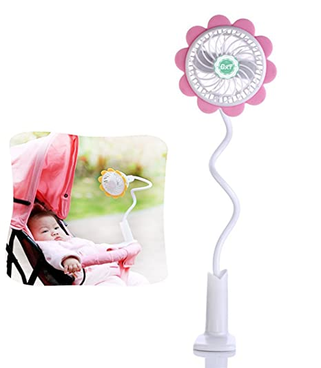 Mini ventilador USB portátil con clip, para bebé, cama, cochecito de bebé,