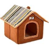 ペットハウス 犬 猫 室内用 ふわふわ 可愛い 折り畳み式 ペット ハウス (M, ダークブラウン)