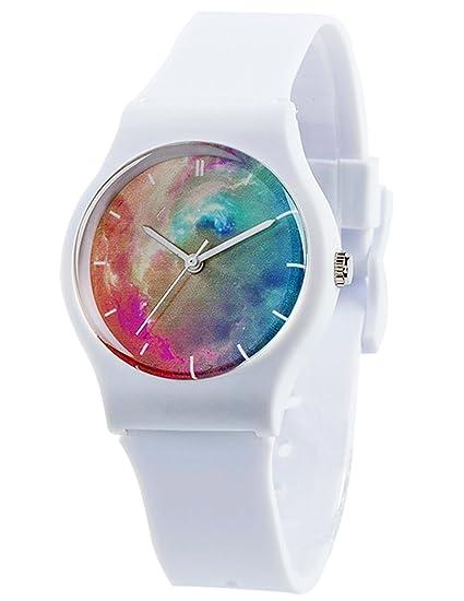 tonnier relojes banda de resina Super suave estudiante relojes para los adolescentes chicas jóvenes estrellada -