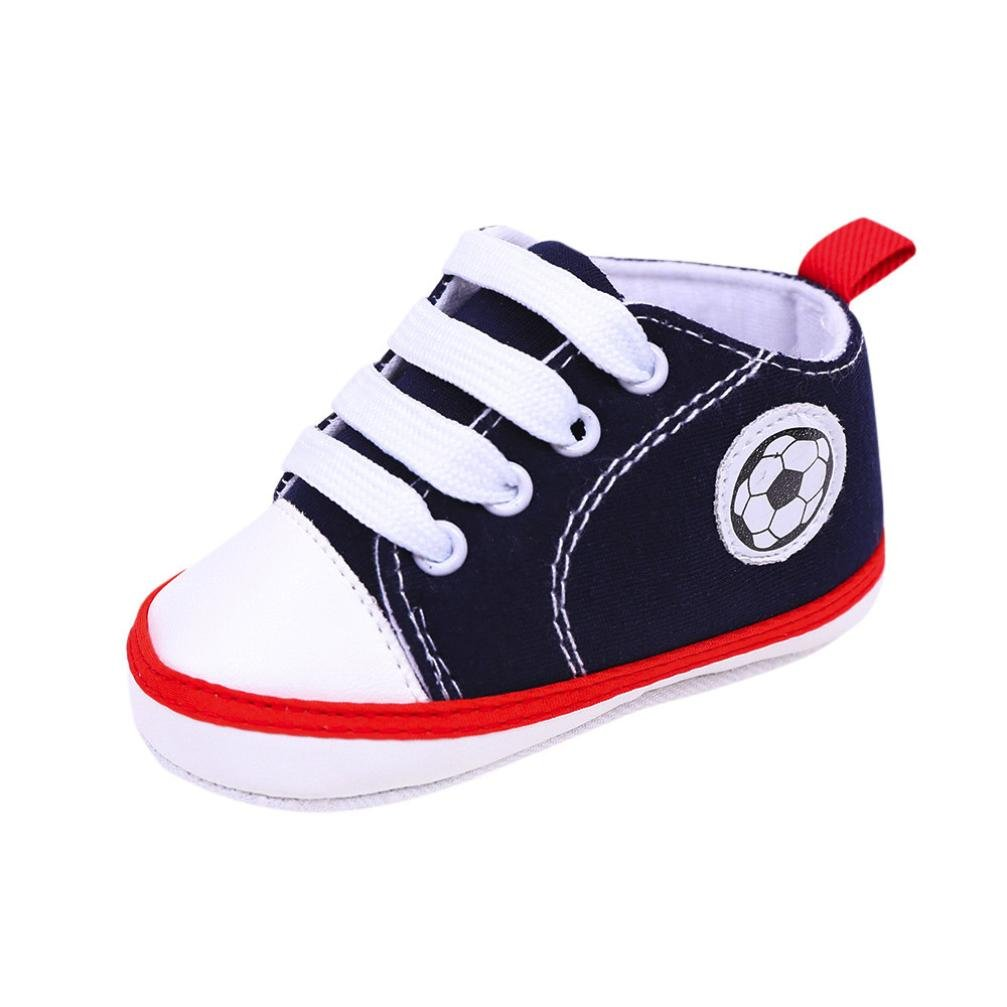 Voberry Prewalker Infant Baby Football Print Canvas Sneaker Anti-skid Soft Shoes 3-12 Months