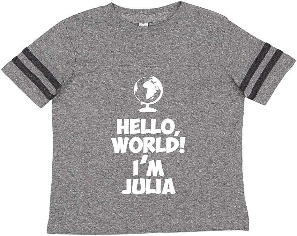 Im Julia World Mashed Clothing Hello Personalized Name Toddler//Kids Sporty T-Shirt