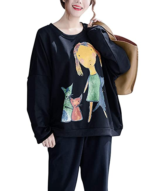 LiShihuan Camiseta de Manga Larga con Estampado de Gato y niña de Dibujos Animados de Talla