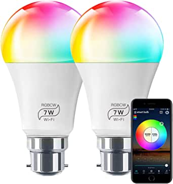 HaoDeng WiFi LED Light, 2Pack Smart Bulb -Timer& Sunrise& Sunset- Dimmable, Multicolor, Warm White (Color Changing Disco Ball Lamp) - 7W A19 B22(55W Equivalent), Compatible with Alexa, Google Home Assistant and IFTTT