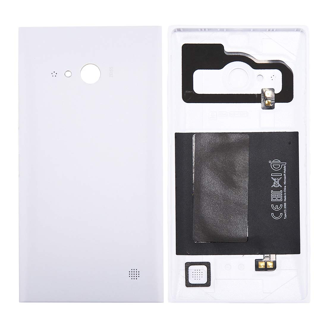 JUNXI Phone Solid Color NFC Battery Back Cover for Nokia Lumia 735 (Black) Classic and Fashion (Color : White) by JUNXI