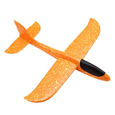 LALANG Throwing Glider Inertia Plane Foam Aircraft Toy Hand Launch Roundabout Trick Airplane (Orange Color, L): Toys & Games