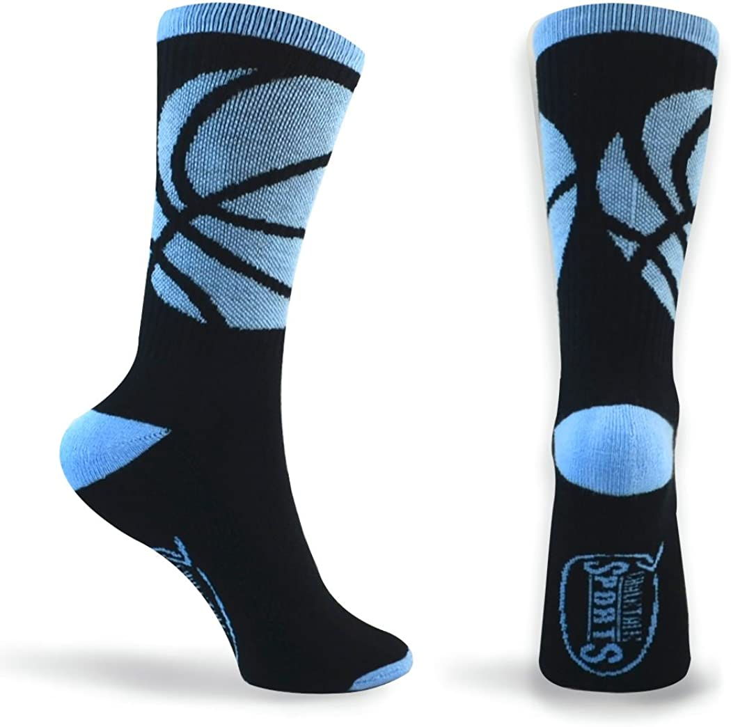 Basketball Sock | Athletic Mid Calf Woven Socks | Basketball Wrap | Black and Carolina Blue: Clothing