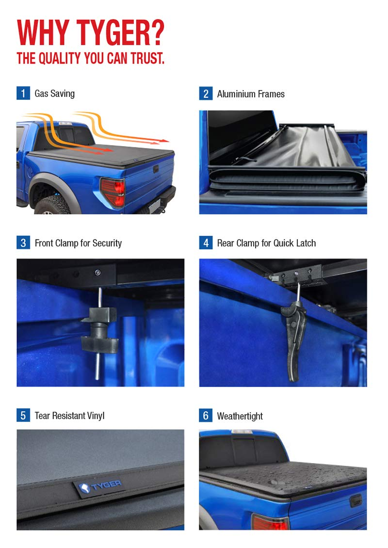 Tyger Auto T3 Tri-Fold Truck Tonneau Cover TG-BC3F1043 Works with 2015-2019 Ford F-150 | Styleside 8' Bed by Tyger Auto (Image #5)