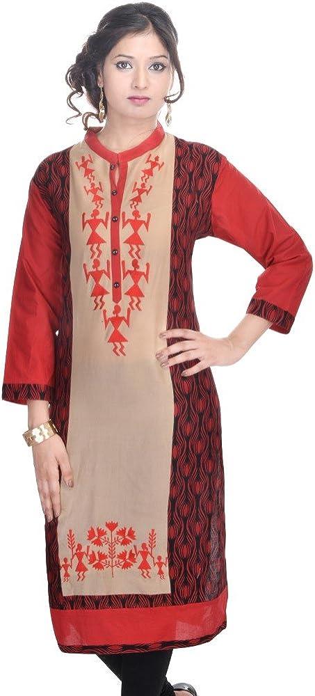 Vihaan Impex Indienne Kurti Tunique Femme Tissu en Coton Robe pour Femme Multicolore VIKU2231