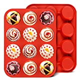 Silicone Muffin Pan Set - Regular 12 Cups Muffin Molds, Non-stick BPA Free Best Food Grade Silicone Molds, Pack of 2
