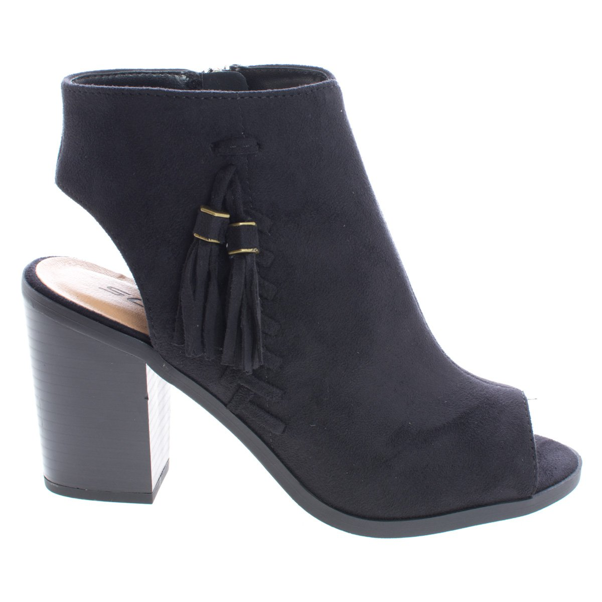 Ankle Booties Peep Toe Sling Back Stack Heel Booties w Tassel /& Zipper