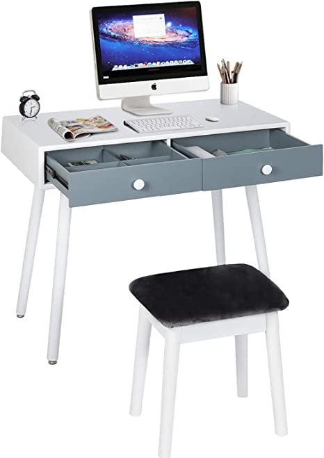 Amazon Com Sthouyn Small Writing Desk With Drawers Student Study Table For Adults Simple Computer Desk And Chair Set 2 For Small Spaces Work Office Desks For Home Vanity Makeup Desks Bedroom Gifts