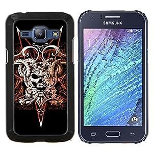 """Be-Star Único Patrón Plástico Duro Fundas Cover Cubre Hard Case Cover Para Samsung Galaxy J1 / J100 ( Devil Rock Metal Horns Cráneo Negro"""" )"""