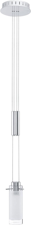 Hängeleuchte AGGIUS chrom weiß LxB 66x10 cm höhenverstellbar mit Zugpendel