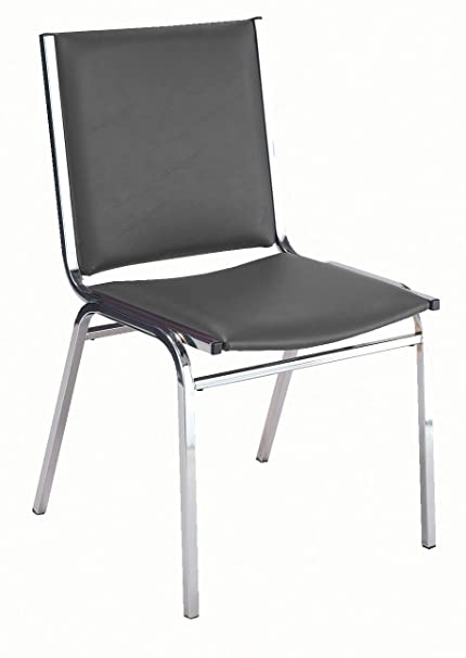 Gentil KFI Seating 410 Armless Stacking Chair, Commercial Grade, 1 Inch, Black  Vinyl