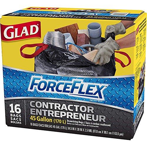- Glad Contractor Grabage Bag ForceFlex 16 Bags 45 Gallon, 170 Liter Capacity