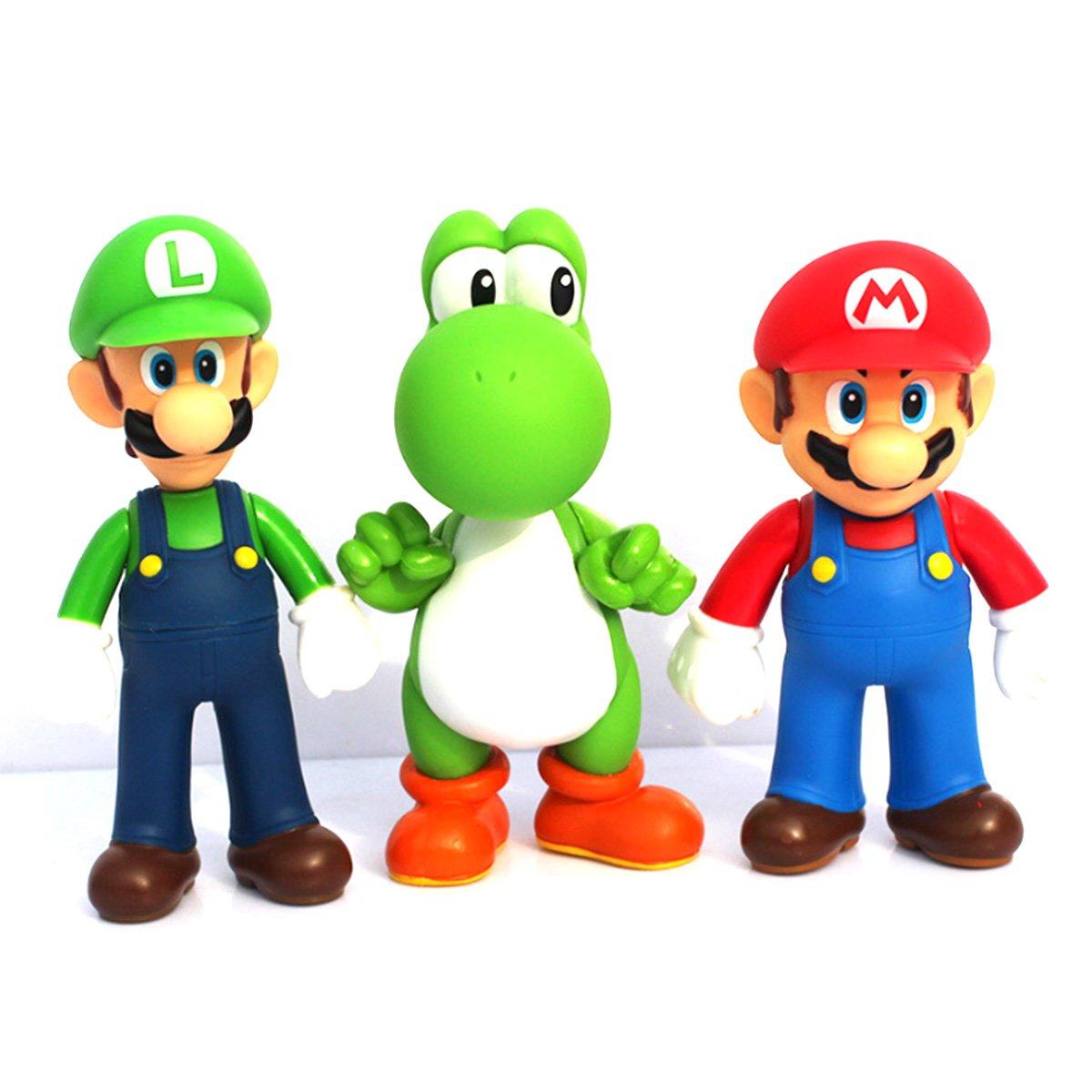 Jiahui Brand 3 Pcs Super Mario Bros Luigi Mario Yoshi PVC Action Figures Toy, 4.7 4.7