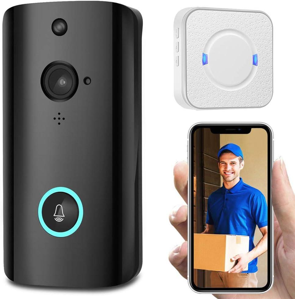 Timbre De Video, Calidad De Video HD, Cámara De Video Inteligente Con Timbre Inalámbrico Resistente A La Intemperie, Fácil Instalación Intercomunicador Soporte De Llamada Tarjeta TF,3 batteries+32G