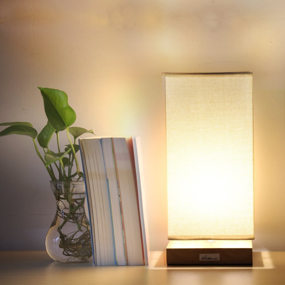 HAITRAL Table Lamp Bedside Desk Lamp with Fabric Shade Wood Base Night Light for Bedroom, Living Room, Baby Room, College Dorm by HAITRAL (Image #5)