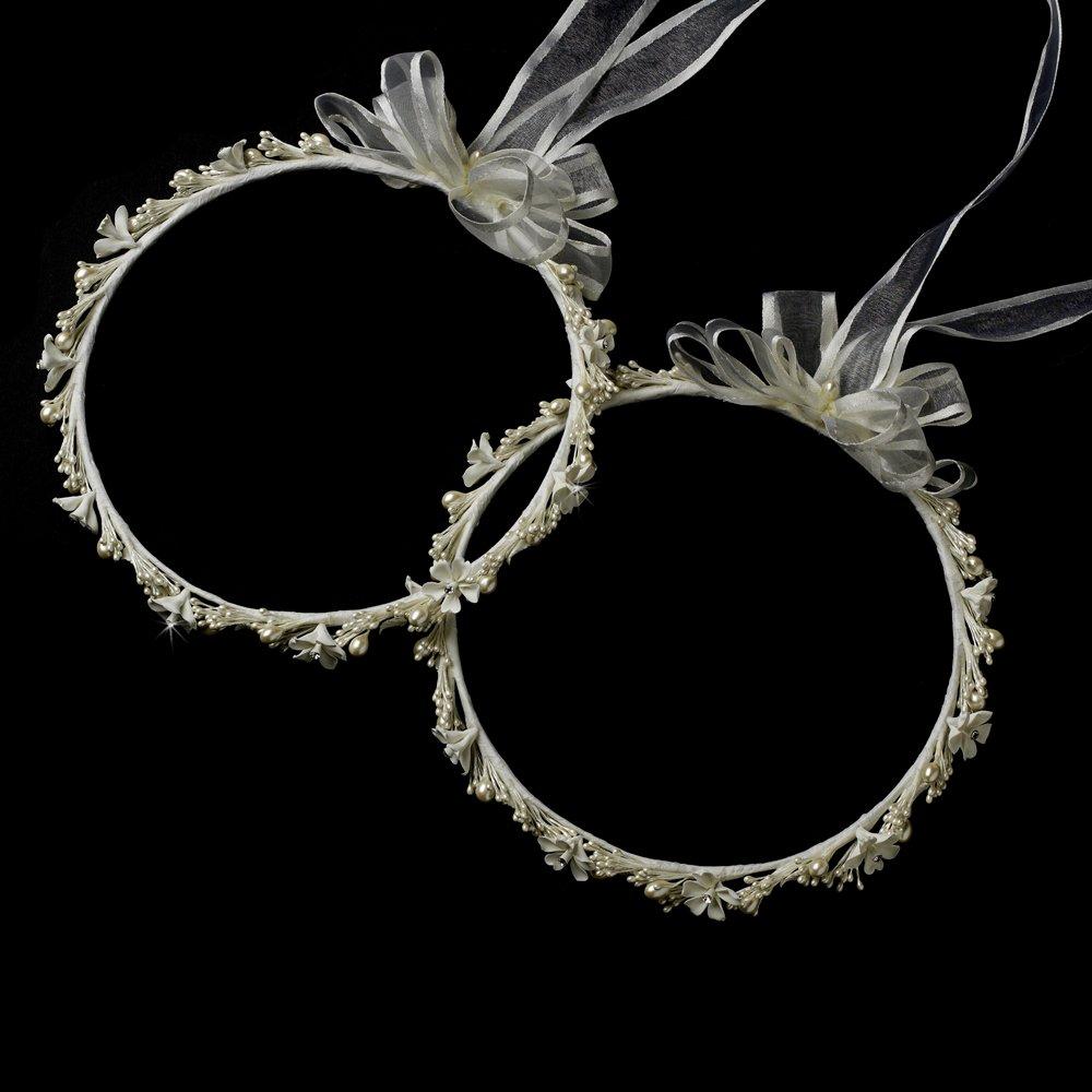 Fanny Ivory Flower & Pearl Greek Stefana Wedding Crowns Bridal Ribbon Headband by Special Moments LLC