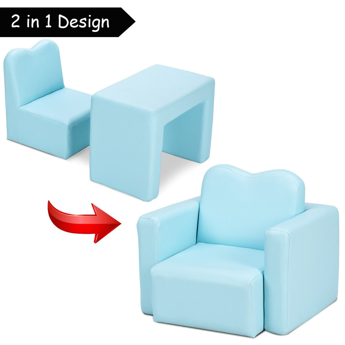 Costzon Kids Sofa, 2-in-1 Multi-Functional Kids Table & Chair Set, Sturdy Wood Construction, Armrest Chair for Boys & Girls (Blue) by Costzon (Image #2)
