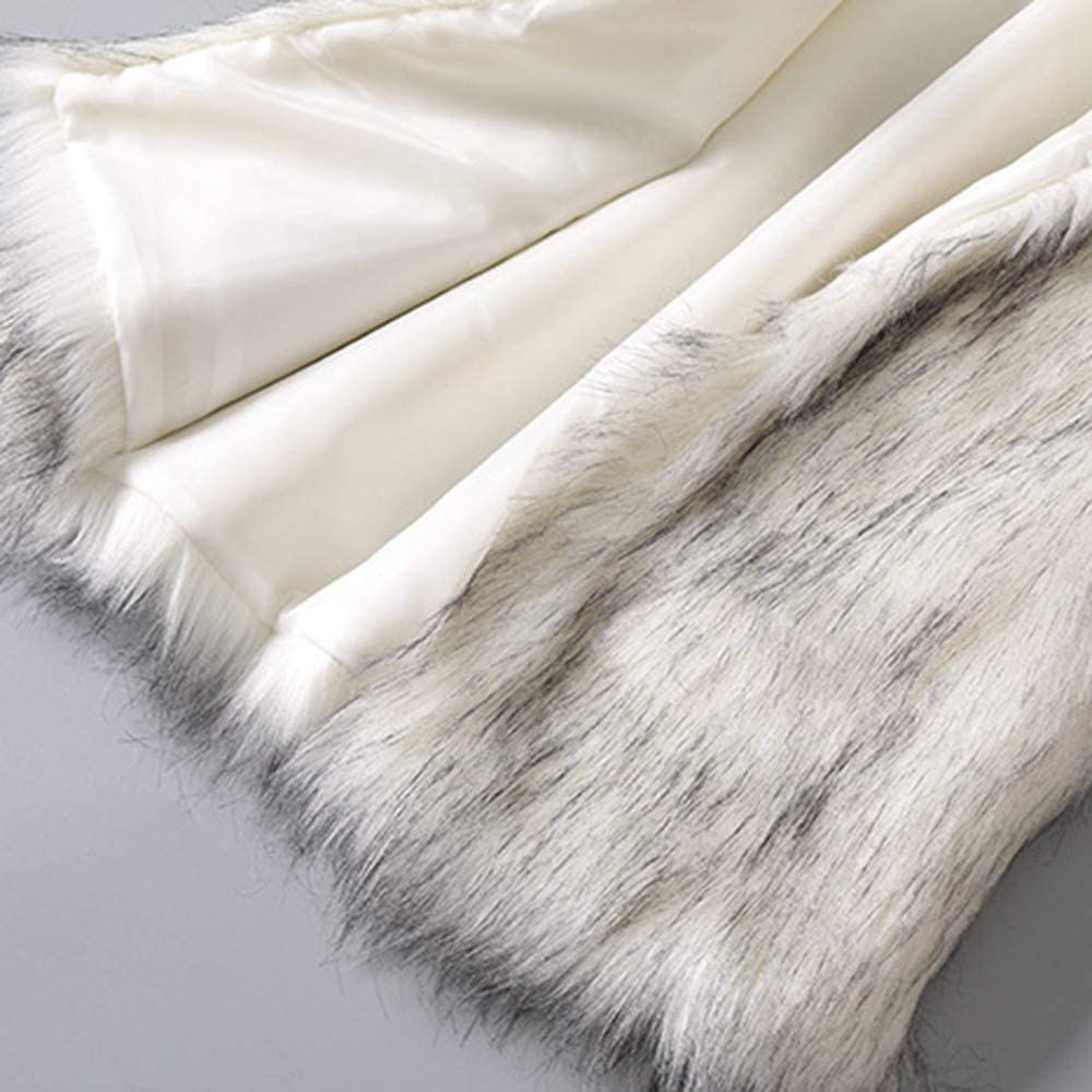 Ximandi Womens Faux Fur Wool Stand Collar Vest White