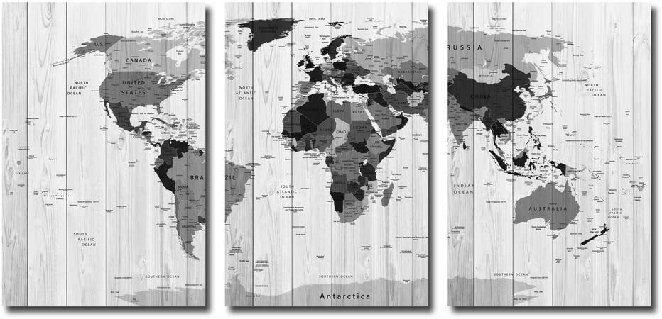 World Map Canvas Wall Art 3 Panel - Vintage Detailed Executive Map Poster Wood Texture Canvas Giclee Print Gallery Wrap Modern Home Décor Ready to Hang