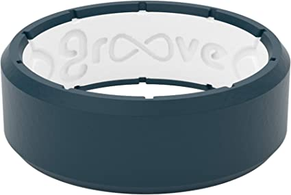 SILICONE MENS WEDDING RING BAND BLACK GROOVE SIZES 8-14 RUBBER SAFETY AMERICAN