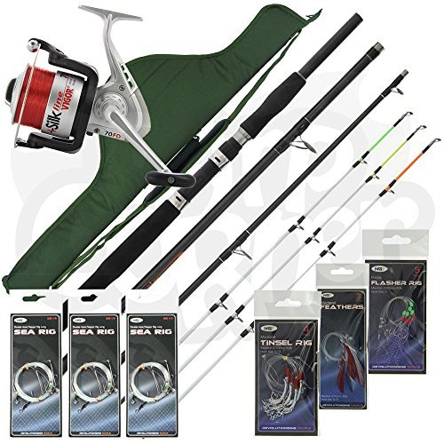 Sea Fishing Travel Set Up 4 Piece Rod & Reel With Deluxe Case Carryall +...